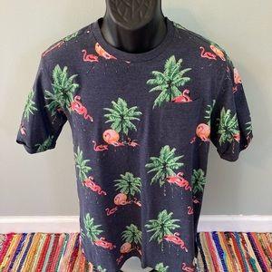 NEW Tropical All Over Print Shirt Flamingo Medium